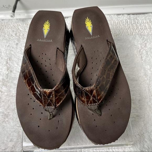 Volatile Thong Flip Flop Sandal Brown Croc Print